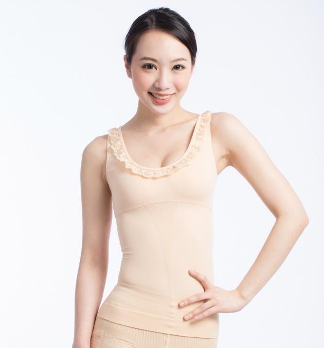 fashion蕾絲修身女背心(黑/膚) 3