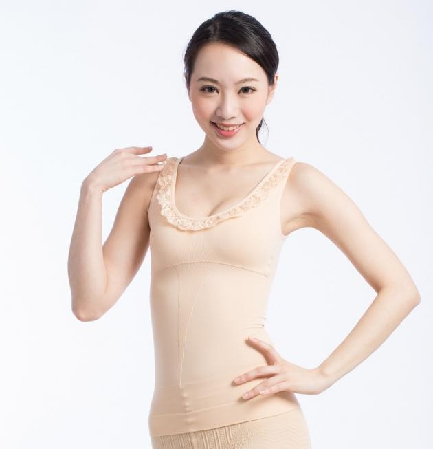 fashion蕾絲修身女背心(黑/膚) 4